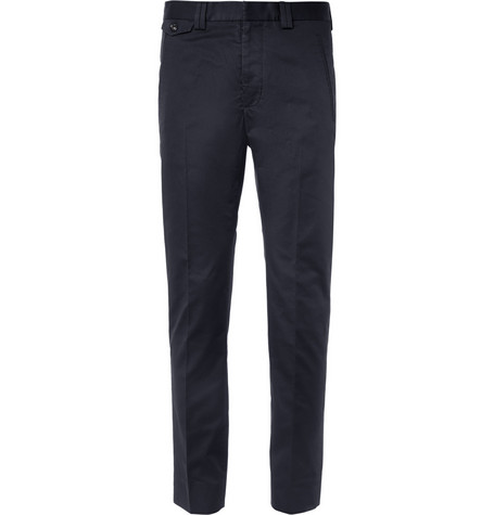Maison Martin Margiela Navy Slim-Fit Cropped Cotton Suit Trousers