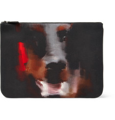 Givenchy Doberman-Print Leather-Trimmed Canvas Pouch