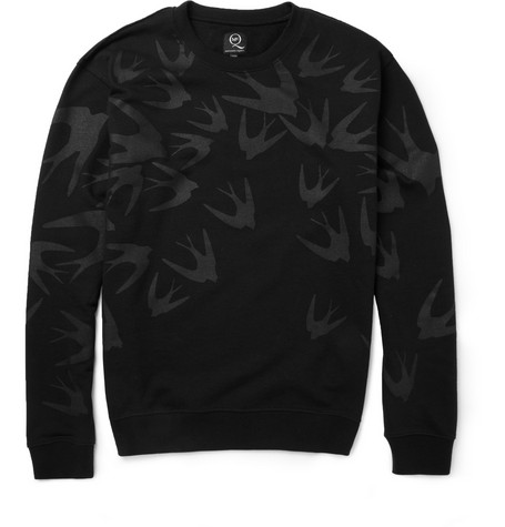 McQ Alexander McQueen Bird-Print Loopback Cotton-Blend Sweatshirt