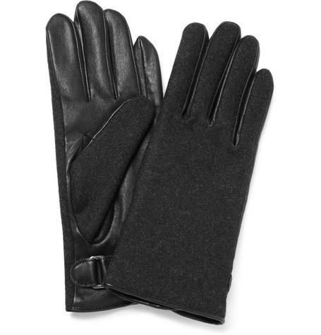 Lanvin Leather and Cashmere Gloves