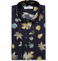 Richard James Navy Leaf-Print Cotton Shirt