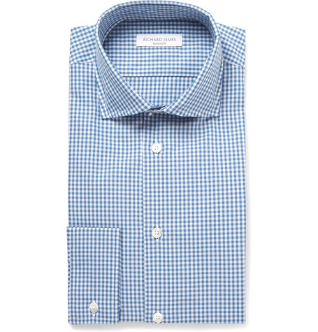 Richard James Blue Gingham Check Cotton Shirt