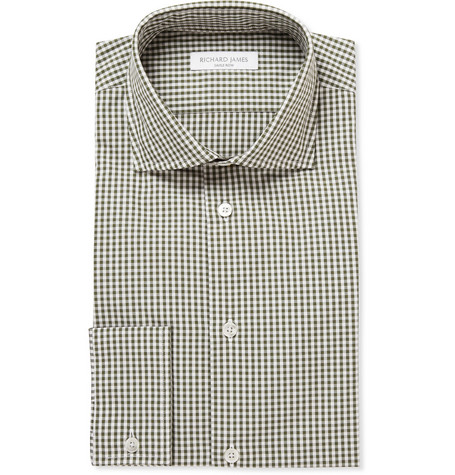 Richard James Green Gingham Check Cotton Shirt