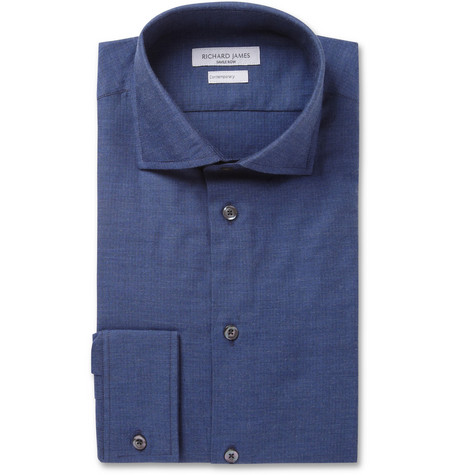 Richard James Herringbone Brushed-Cotton Shirt