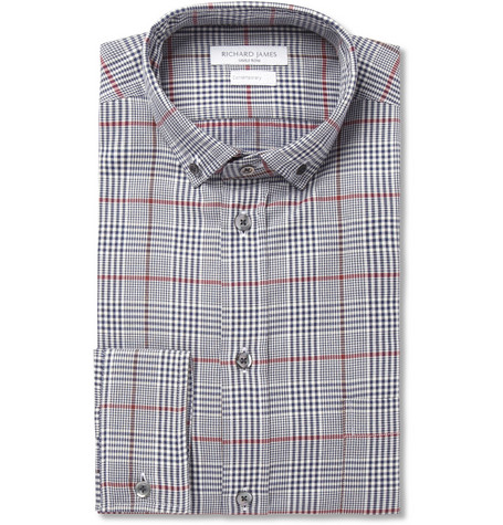 Richard James Slim-Fit Prince of Wales Check Cotton Shirt