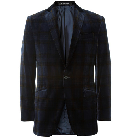 Richard James Hyde Slim-Fit Plaid Velvet Blazer
