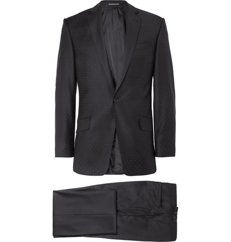 Richard James Hyde Black Pindot Wool Suit