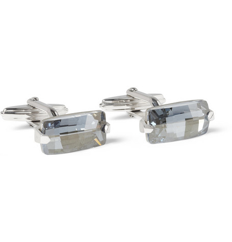 Lanvin Crystal Rhodium-Plated Cufflinks