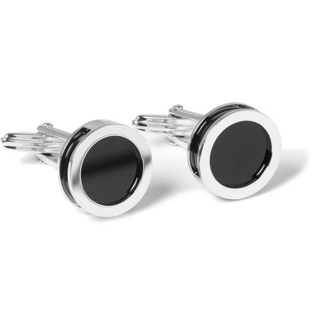 Lanvin Onyx and Mother-of-Pearl Changeable Rhodium-Plated Cufflinks