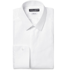 Dolce & Gabbana White Gold-Fit Patterned Cotton Tuxedo Shirt