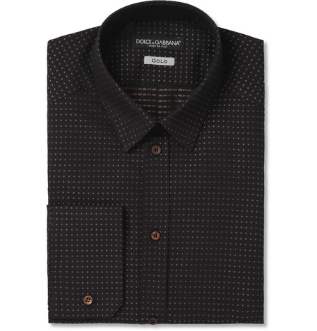 Dolce & Gabbana Gold-Fit Dotted Cotton Shirt