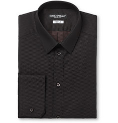 Dolce & Gabbana Black Gold-Fit Slim Swiss Dot Cotton Shirt