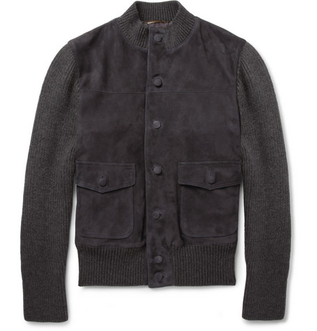 Dolce & Gabbana Suede and Knitted Wool-Blend Bomber Jacket