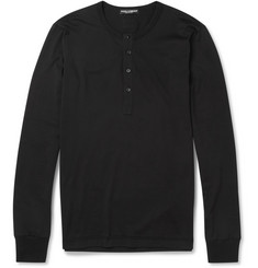 Dolce & Gabbana Long-Sleeved Cotton-Jersey Henley T-shirt
