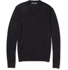 Dolce & Gabbana Lightweight Wool V-Neck Sweater