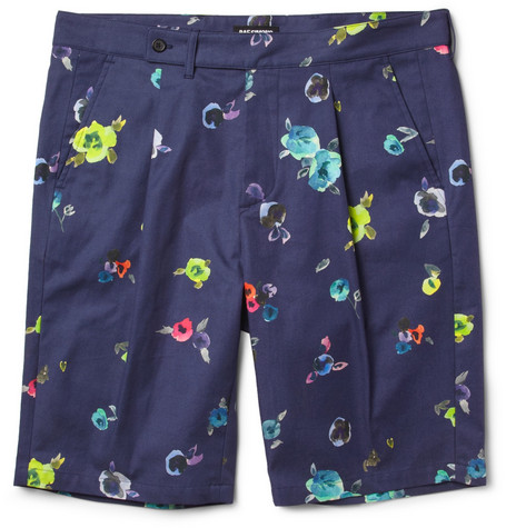 Raf Simons Flower-Print Cotton-Twill Shorts