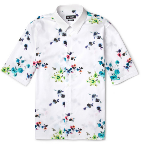 Raf Simons Flower-Print Short-Sleeved Cotton Shirt