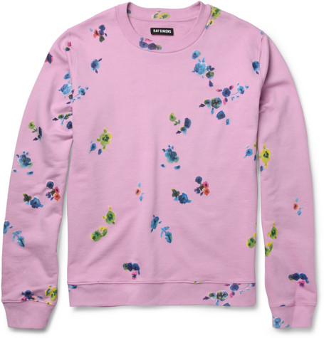Raf Simons Flower-Print Loopback Cotton-Blend Sweatshirt
