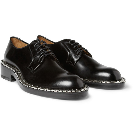 Raf Simons Chain-Trimmed Leather Derby Shoes