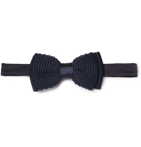 Lanvin New Alber Knitted Silk Bow Tie