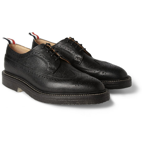 Thom Browne Crepe-Sole Pebbled-Leather Wingtip Brogues