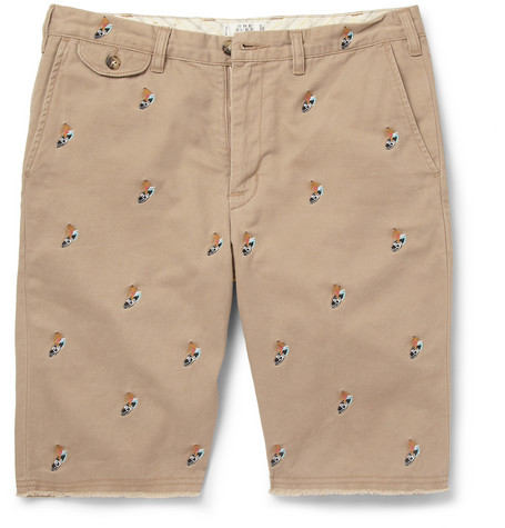 Beams Plus Slim-Fit Embroidered Brushed-Cotton Shorts