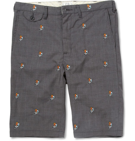 Beams Plus Slim-Fit Embroidered Shorts