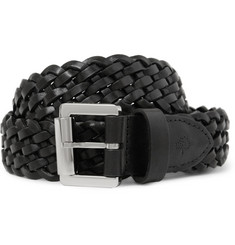Mulberry Black 3cm Woven-Leather Belt