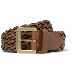 Mulberry Brown 3cm Woven-Leather Belt
