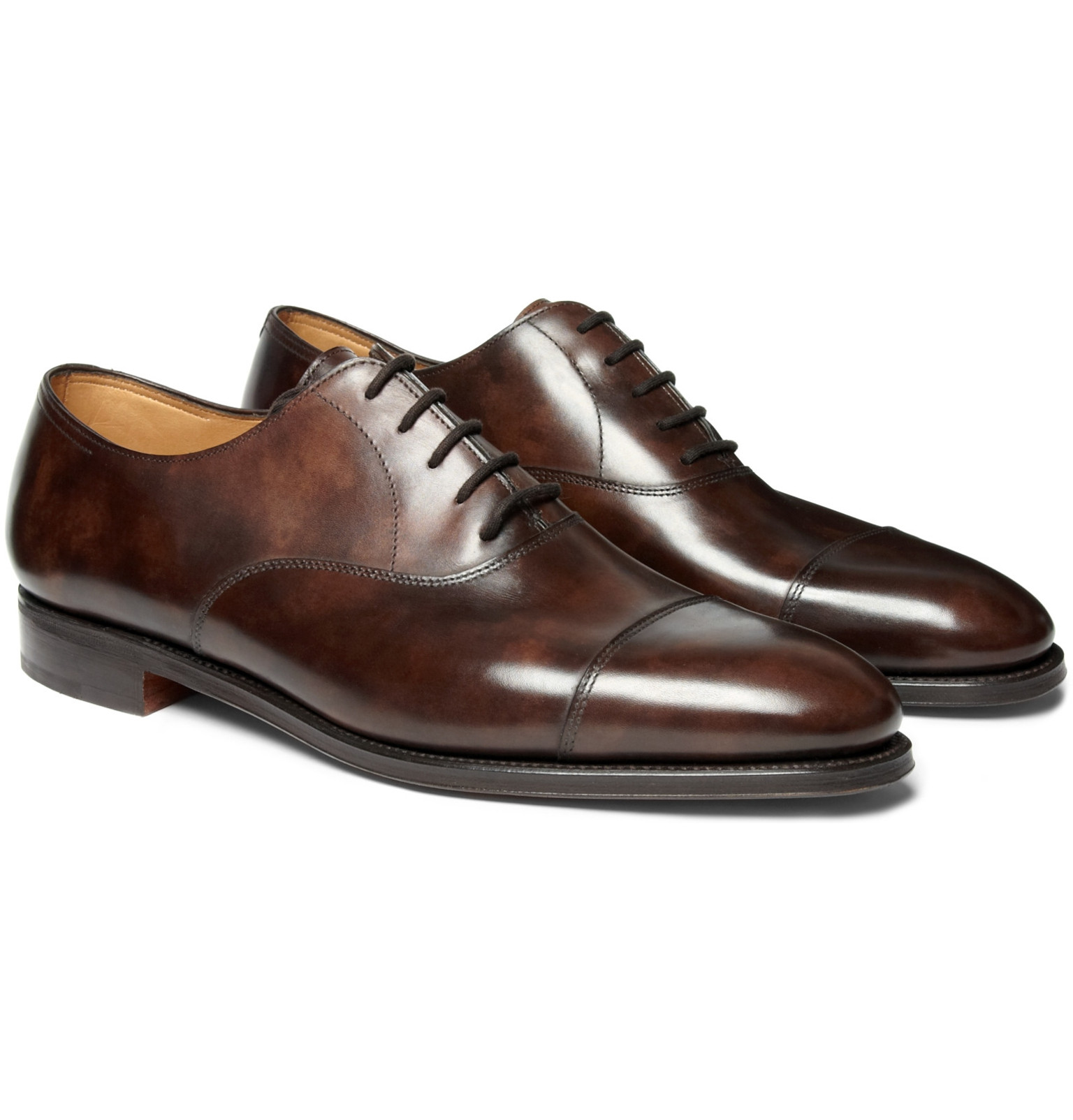 John Lobb City Ii Burnished Leather Oxford Shoes
