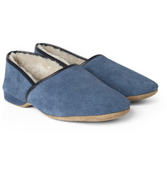 Derek Rose Crawford Suede and Shearling Slippers
