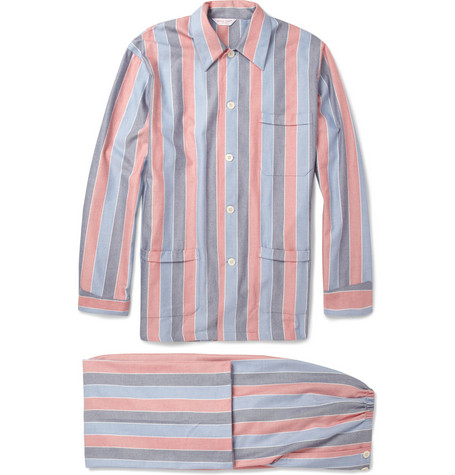 Derek Rose Avonora Striped Cotton-Twill Pyjama Set
