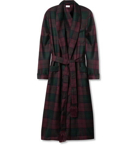 Derek Rose Lindsey Plaid Wool-Flannel Dressing Gown