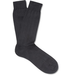 Pantherella - Ribbed Sea Island Cotton-Blend Socks