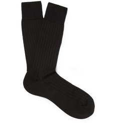 Pantherella Ribbed Silk-Blend Socks