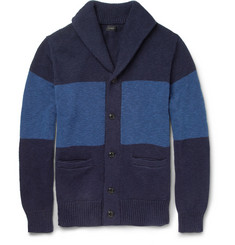 J.Crew Striped Knitted Cotton Cardigan