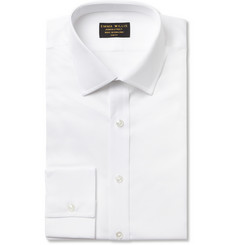 Emma Willis White Slim-Fit Ribbed Organic Cotton Shirt