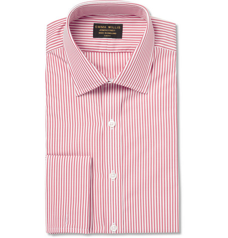 Emma Willis Red Slim-Fit Bengal Stripe Double-Cuff Cotton Shirt