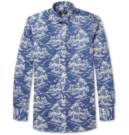 Emma Willis Blue Slim-Fit Printed Cotton Shirt