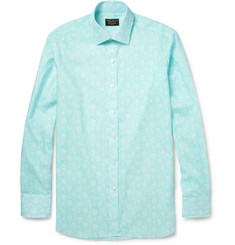 Emma Willis Turquoise Slim-Fit Printed Cotton Shirt