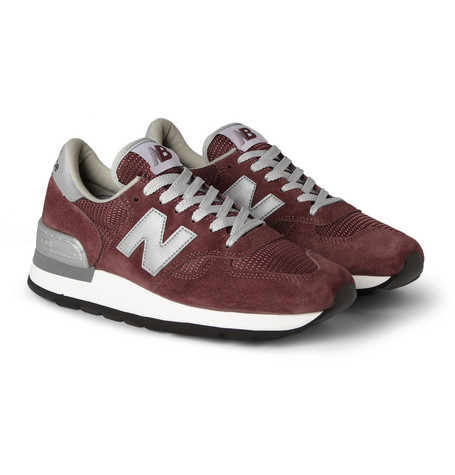New Balance 990 Suede and Mesh Sneakers