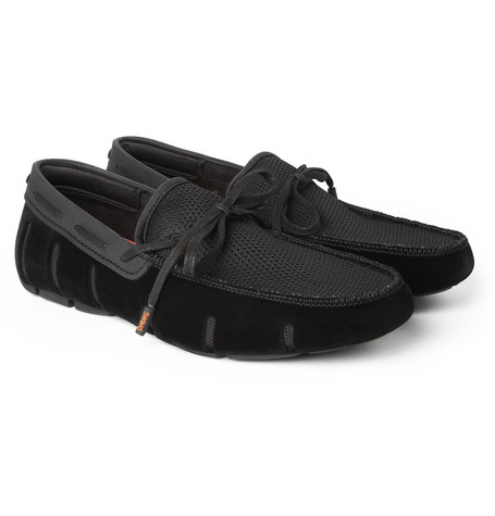 SWIMS Rubber, Mesh and Velvet Boat Shoes