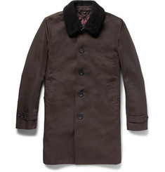 Paul Smith London Trench Coat with Detachable Shearling Collar and Lining