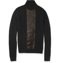 Jil Sander Calf Hair-Panelled Wool and Cashmere-Blend Sweater