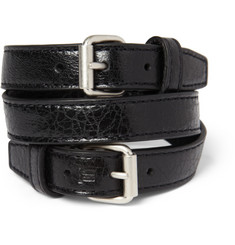 Balenciaga Wrapped Creased-Leather Bracelet