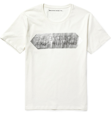 Balenciaga Metallic-Print Cotton-Jersey T-Shirt
