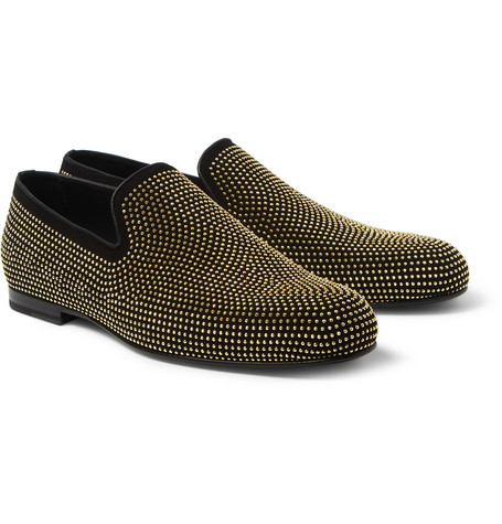Jimmy Choo Sloane Studded Suede Slippers