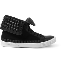 Jimmy Choo Spencer Rubber-Studded Leather High Top Sneakers