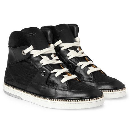 Jimmy Choo Barlowe Metal-Studded Leather High Top Sneakers