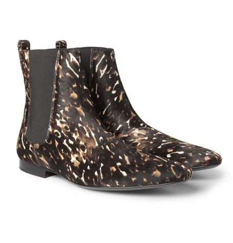 Burberry Shoes & Accessories Printed Calf Hair Chelsea Boots